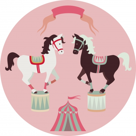 circus animal: Retro circus animal vector character. Horses.