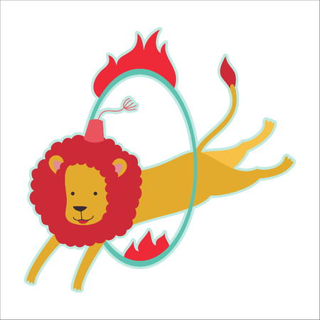 Retro circus animal isolated vector character. Lions. Vector