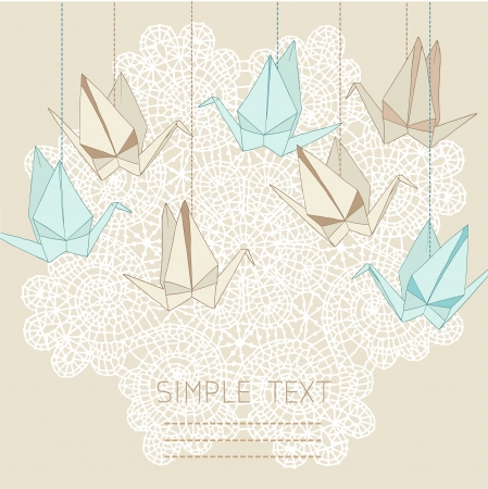 Origami crane vector card with lace background. Vector