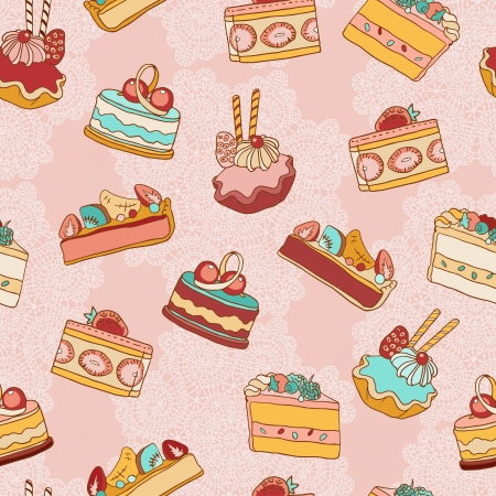 Cakes slices vector seamless pattern. Vector
