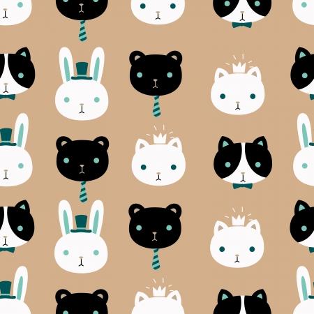 Cute pet vector seamless pattern. Illustration