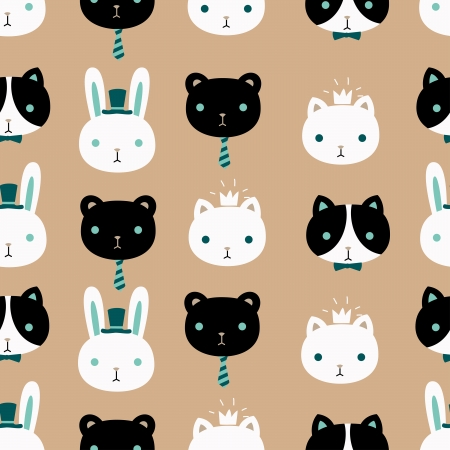 Cute pet vector seamless pattern. Stock Illustratie