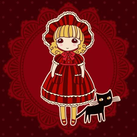Small cute girl vector illustration.