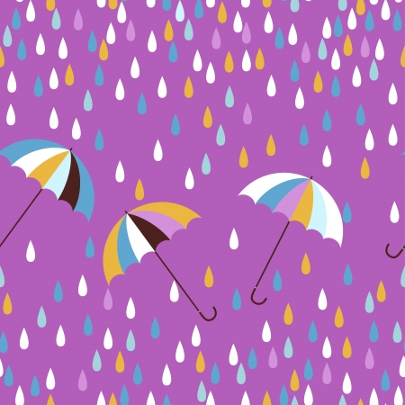 Umbrellas and raindrops seamless vector pattern. Vector