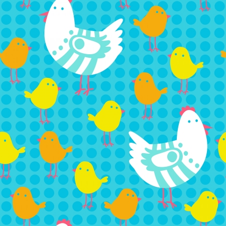 Chicken and chick seamless vector pattern. Vector