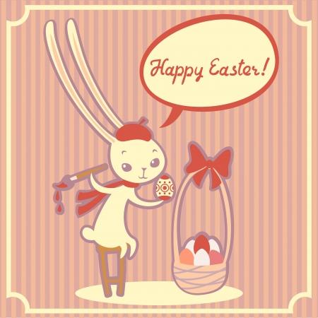 bunnie: Vector easter greeting card with cute bunnie girl.