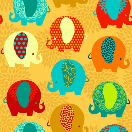 Cute colorful elephants seamless vector pattern. Vector