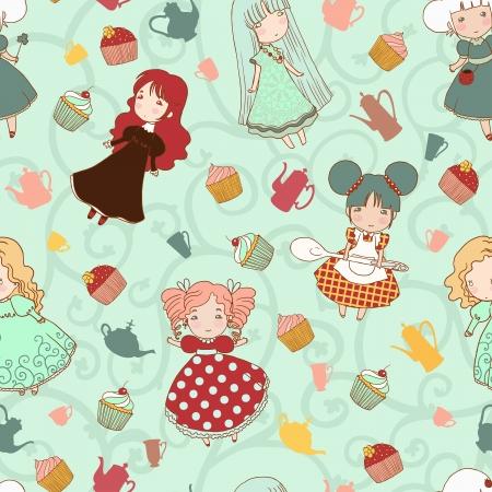 Small cute girls seamless vector pattern. Illustration