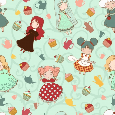 Small cute girls seamless vector pattern. Illusztráció