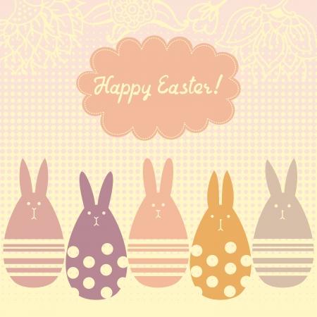 rabbit cartoon: Vector illustration with egg shaped bunnies. Illustration