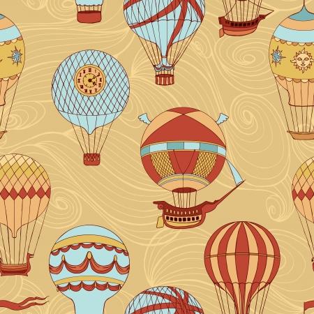 yellow adventure: Aerostats vector seamless pattern