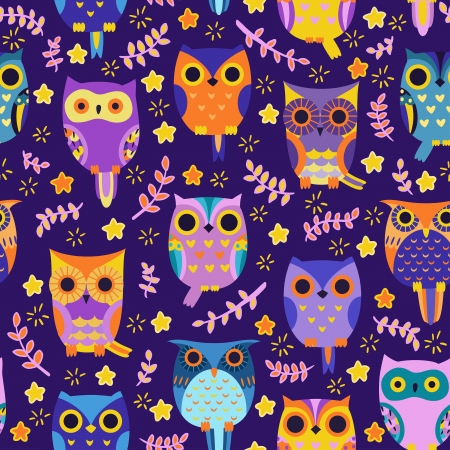 cartoon owl: Cute owls vector seamless pattern.