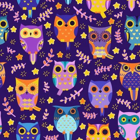 Cute owls vector seamless pattern.
