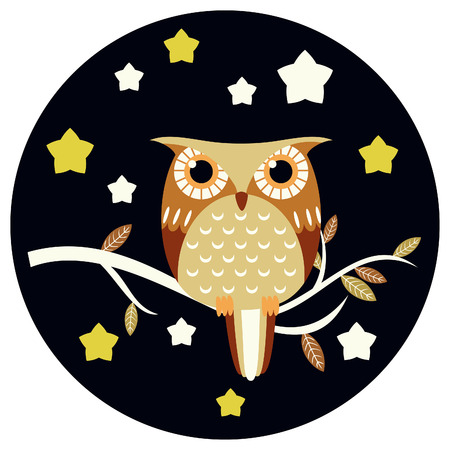 Cute owl vector illustration. Vector