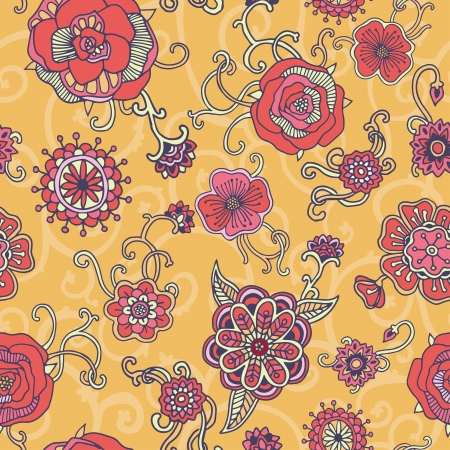 Retro floral seamless pattern. Vector