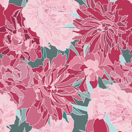 paeony: Red peony vector seamless pattern. Illustration