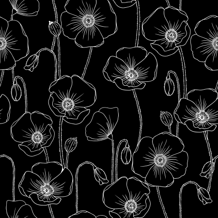 Poppies bw vector seamless pattern. Vector