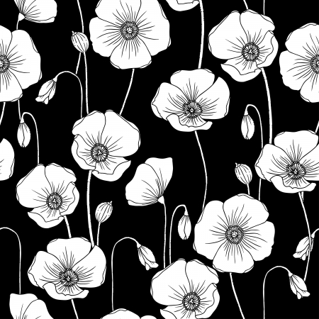 Poppies b/w vector seamless pattern.