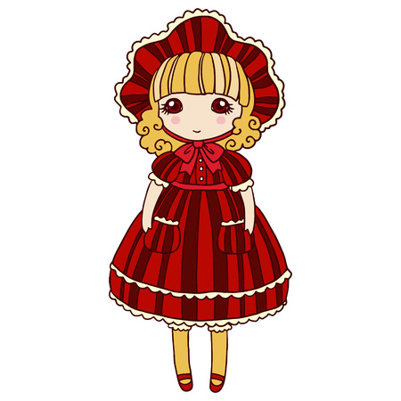 Small cute girl isolated vector illustration.