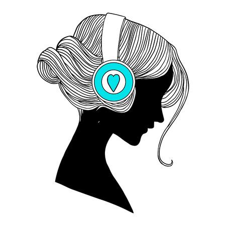 La cabeza de la mujer joven con los auriculares ilustración vectorial. Perfil.