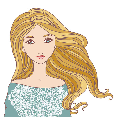 woman isolated: Beautiful blond young woman isolated vector illustration. Illustration