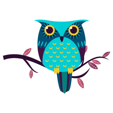 Cute owl isolated vector illustration.