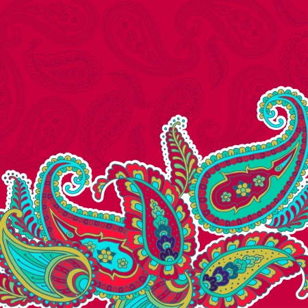 Colorful paisley-style vector pattern. Vector