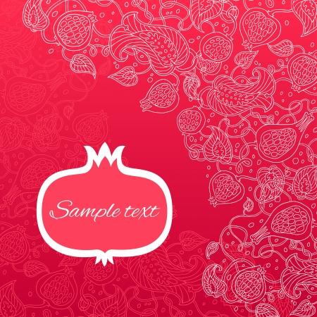 Pomegranate pattern vector card. Illustration