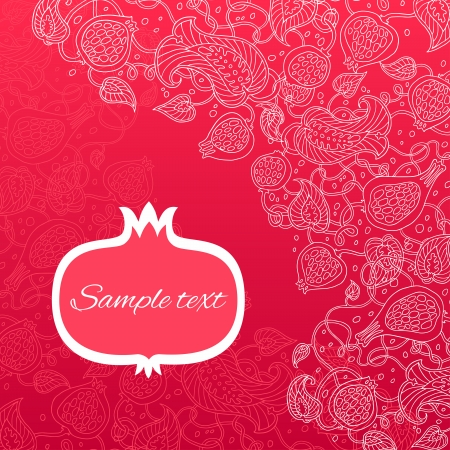 Pomegranate pattern vector card. 向量圖像