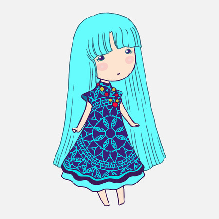 cute little girls: Small cute girl isolated vector illustration.