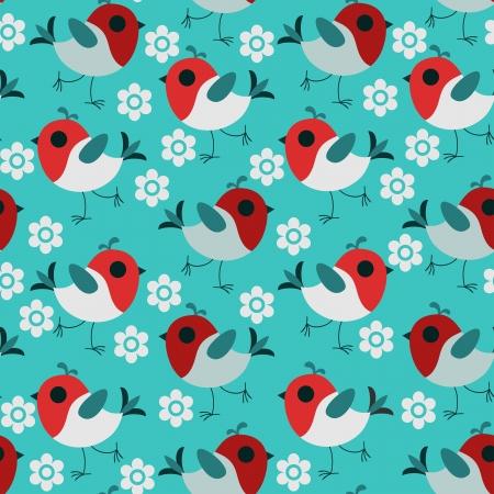 Little bird vector seamless pattern.