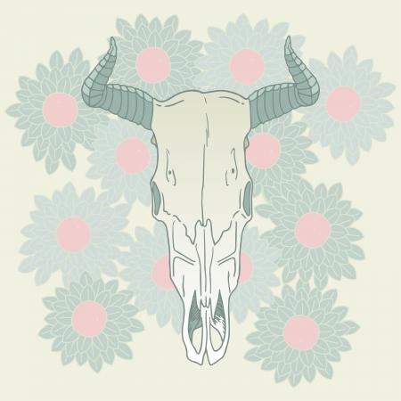 large skull: Cow skull on floral background vector illustration