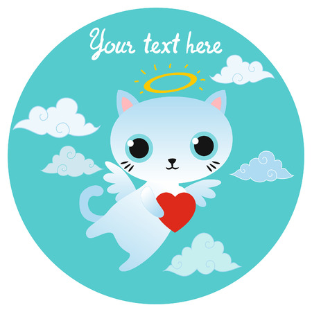 Vector white angel cat character with heart. Vector