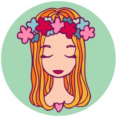 Zodiac sign cartoon vector illustration. Virgo.