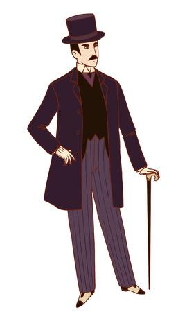 tophat: Twenties style dressed man vector illustration.