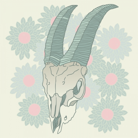 Goat skull on floral background vector illustration Vector