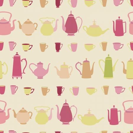 Teapot vector seamless pattern. Vector
