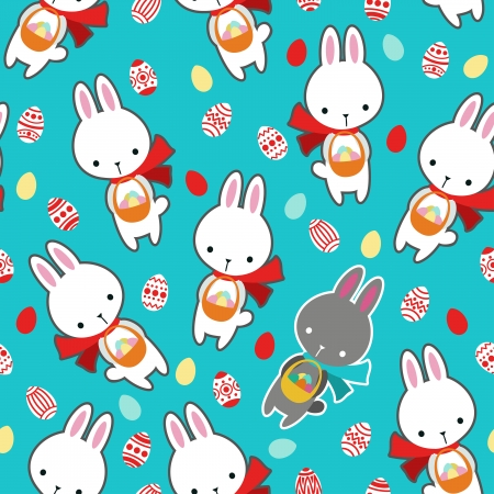 Vector seamless pattern with cute rabbits. Vector