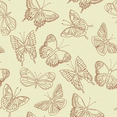 swallowtail butterfly: Butterflies vector seamless pattern.