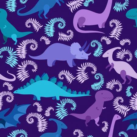 Cartoon dinosaur seamless pattern. Stock Illustratie
