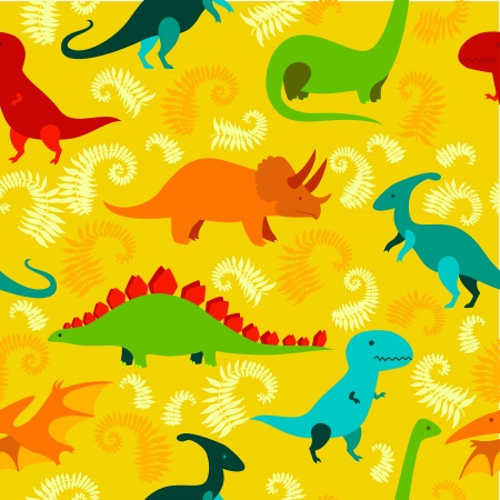 prehistoric: Cartoon dinosaur seamless pattern. Illustration