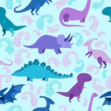 Cartoon dinosaur seamless pattern. Illustration