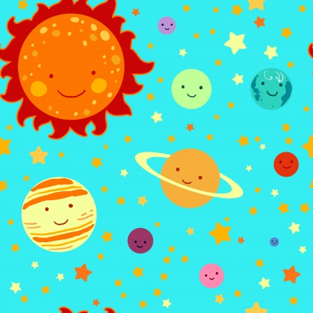 Kid's style drawing solar system seamless pattern.