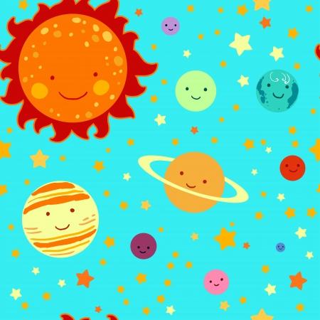 Sistema solar dibujo Modelo inconsútil del estilo del cabrito. Foto de archivo - 24594888