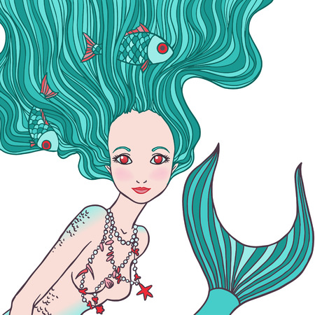 Illustration of Pisces astrological sign as a beautiful girl