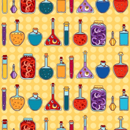 Alchemy laboratory equipment seamless pattern. Vector