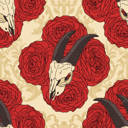Goat skull on red roses seamless pattern. Vector