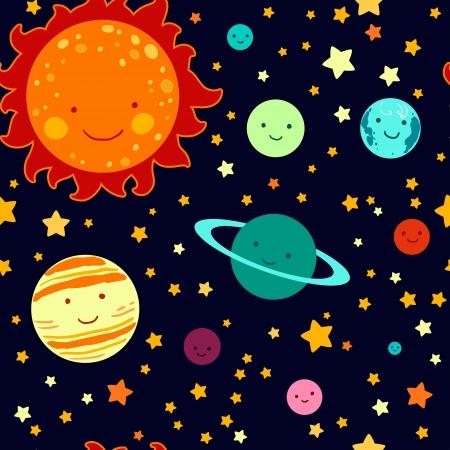 system: Rysunek dla dzieci w stylu systemu solarnego bez szwu deseniu. Ilustracja