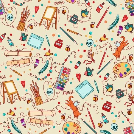 muse: Art stuff seamless pattern. Illustration