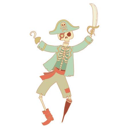 wooden leg: Skeleton pirate cartoon style character isolated illustration. Illustration